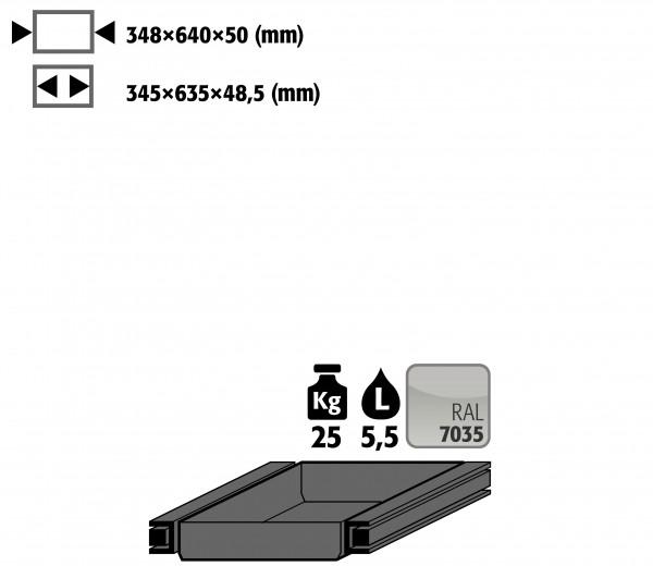 Auszugswanne Standard Türanschlag rechts (Volumen: 5,50 Liter) für Modell(e): S90 mit Breite 600 mm, Stahlblech pulverbeschichtet glatt