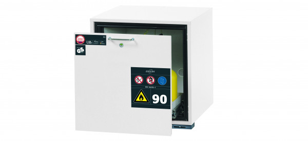 Typ 90 Sicherheitsunterbauschrank UB-S-90 Modell UB90.060.059.S in laborweiss (ähnl. RAL 9016) mit 1x Schubladenwanne STAWA-R (Stahlblech)