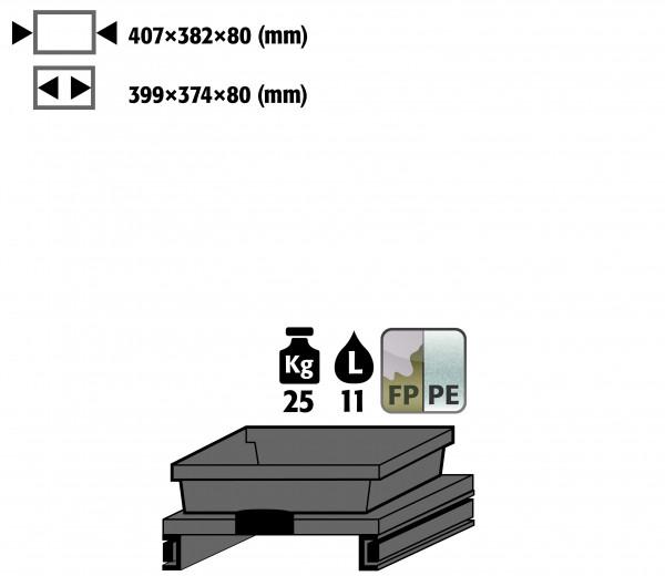 Tablarauszug mit PE-Wanne (Volumen: 11,00 Liter) für Modell(e): K90 mit Breite 1100/1400 mm, FP-Platte/Polypropylen melaminharzbeschichtet/roh