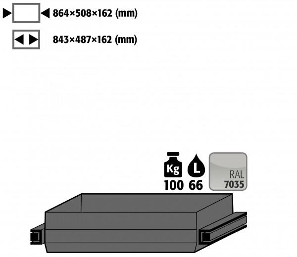 Auszugswanne Schwerlast (Volumen: 66,00 Liter) für Modell(e): Q90, S90 mit Breite 1200 mm, Stahlblech pulverbeschichtet glatt