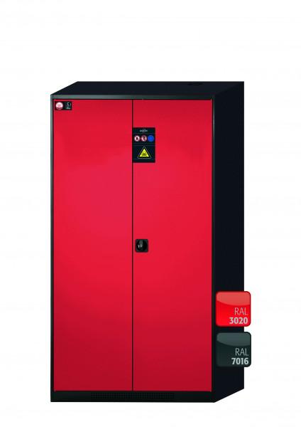 Chemikalienschrank CS-CLASSIC Modell CS.195.105 in verkehrsrot RAL 3020 mit 4x Tablarauszug AbZ (Stahlblech/Polypropylen)
