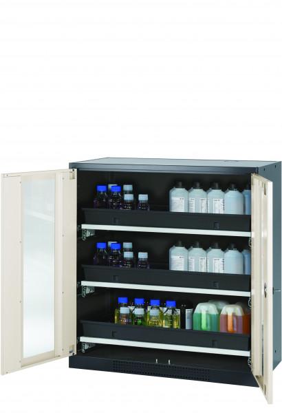 Chemikalienschrank CS-CLASSIC-G Modell CS.110.105.WDFW in reinweiss RAL 9010 mit 3x Tablarauszug AbZ (Stahlblech/Polypropylen)