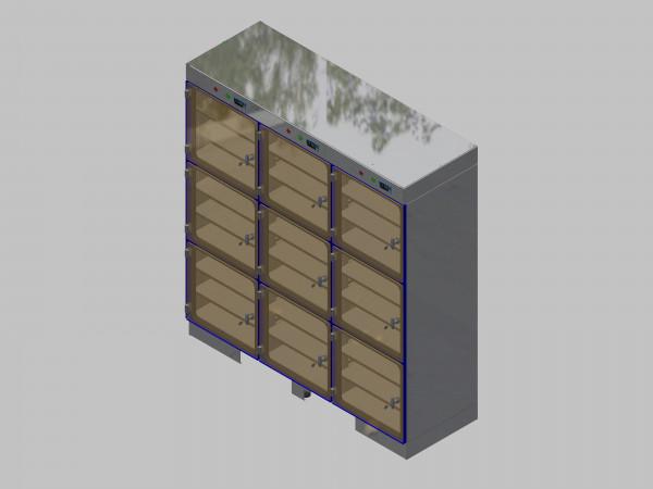 Trockenlagerschrank-ITN-1800-9 mit 3 Tablaren und Regelung der Schrankatmosphäre pro Vertikalkompartiment und Sockelausführung unterfahrbar mit Stellfüssen