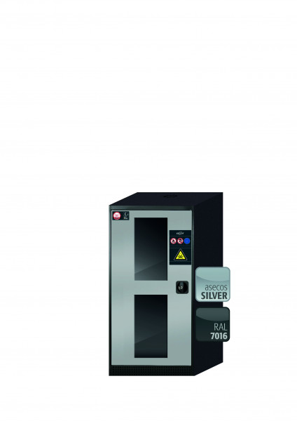 Chemikalienschrank CS-CLASSIC-G Modell CS.110.054.WDFW in asecos Silber mit 3x Tablarauszug AbZ (Stahlblech/Polypropylen)