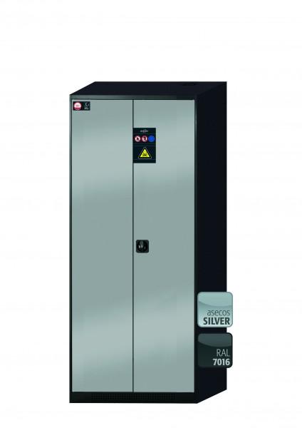 Chemikalienschrank CS-CLASSIC Modell CS.195.081 in asecos Silber mit 5x Tablarauszug AbZ (Stahlblech/Polypropylen)