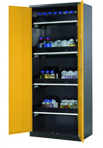 Chemikalienschrank CS-CLASSIC Modell CS.195.081 in sicherheitsgelb RAL 1004 mit 4x Tablarauszug AbZ (Stahlblech/Polypropylen)