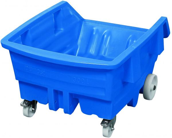 Kippwagen PE Blau mit Rollen, 750 L, 1560x925x1150, Polyethylen