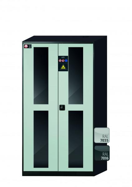 Chemikalienschrank CS-CLASSIC-G Modell CS.195.105.WDFW in lichtgrau RAL 7035 mit 5x Tablarauszug AbZ (Stahlblech/Polypropylen)