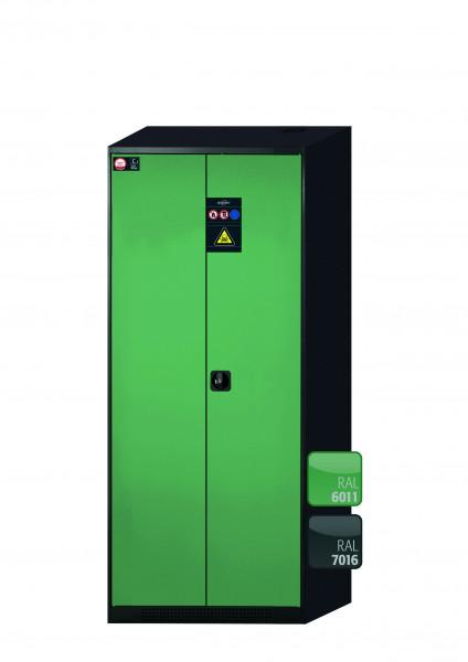 Chemikalienschrank CS-CLASSIC Modell CS.195.081 in resedagrün RAL 6011 mit 4x Tablarauszug AbZ (Stahlblech/Polypropylen)