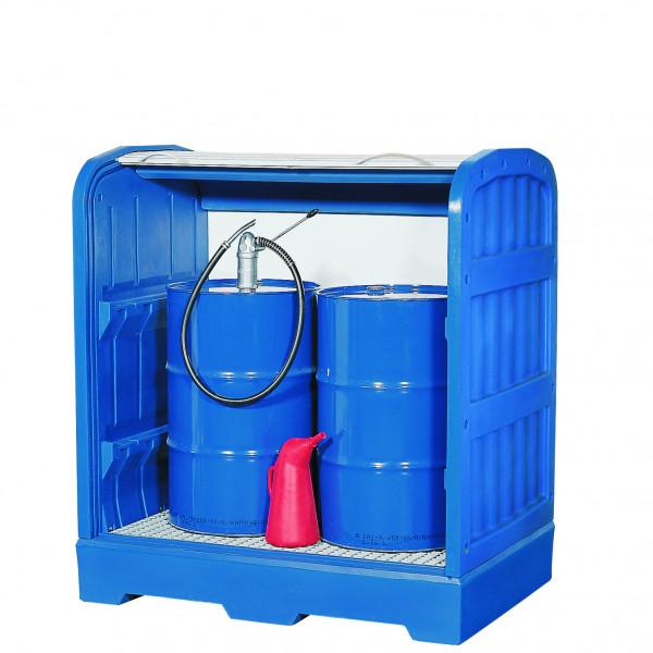 Depot unterfahrbar PE-LD mit verzinktem Gitterrost 1560x1030x1670, Polyethylen (low density)