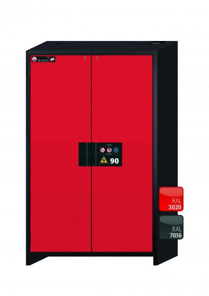 Typ 90 Sicherheitsschrank Q-CLASSIC-90 Modell Q90.195.120 in verkehrsrot RAL 3020 mit 4x Auszugswanne Standard (Edelstahl 1.4301)