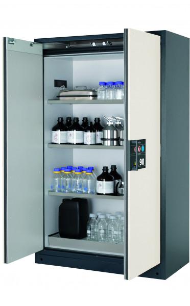 Typ 90 Sicherheitsschrank Q-CLASSIC-90 Modell Q90.195.120 in reinweiss RAL 9010 mit 3x Fachboden Standard (Edelstahl 1.4301)