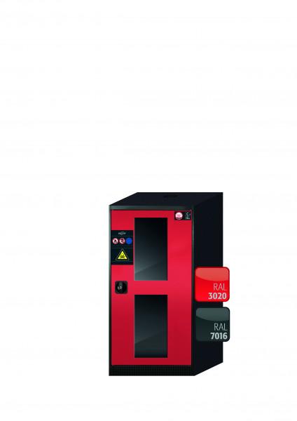 Chemikalienschrank CS-CLASSIC-G Modell CS.110.054.WDFWR in verkehrsrot RAL 3020 mit 2x Tablarauszug AbZ (Stahlblech/Polypropylen)