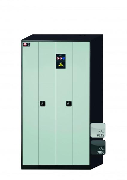 Chemikalienschrank CS-PHOENIX Modell CS.195.105.FD in lichtgrau RAL 7035 mit 6x Tablarauszug AbZ (Stahlblech/Polypropylen)