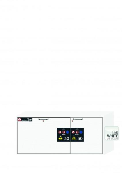 Typ 30 Sicherheitsunterbauschrank UB-S-30 Modell UB30.060.140.2S in laborweiss (ähnl. RAL 9016) mit 2x Schubladenwanne STAWA-R (Edelstahl 1.4301)