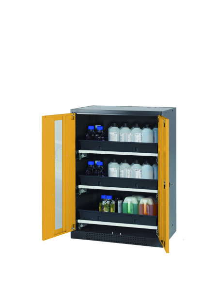 Chemikalienschrank CS-CLASSIC-G Modell CS.110.081.WDFW in sicherheitsgelb RAL 1004 mit 3x Tablarauszug AbZ (Stahlblech/Polypropylen)