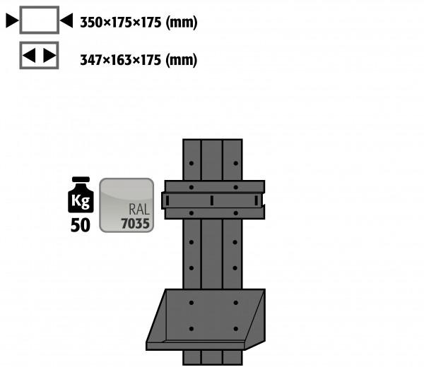 Flaschenhalter seitlich werkzeugfrei höhenverstellbar für Modell(e): G90, G30 mit Breite 600/1200 mm, Stahlblech pulverbeschichtet glatt
