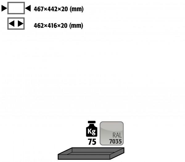 Fachboden Standard für Modell(e): UB90 mit Breite 590/1100 mm, Stahlblech pulverbeschichtet glatt