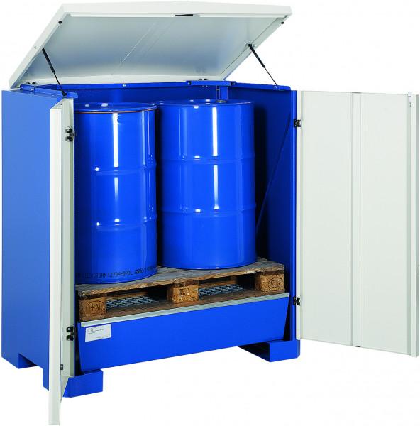 Depot unterfahrbar Stahlblech mit verzinktem Gitterrost 1425x960x1540, Stahlblech lackiert