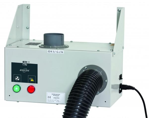 Entlüftungsmodul Modell HF.EA.24139 für Unterbauschränke zur Wandmontage mit Abluftüberwachung inkl. potentialfreiem Alarmkontakt, Stahlblech pulverbeschichtet glatt