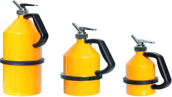 Sicherheits-Feindosierkanne 1 L, verzinkt und pulverlackiert Gelb, Stahl verzinkt und pulverbeschichtet