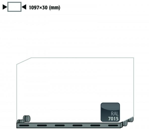 Rollen mit Sockelblende Höhe = 30 mm für Modell(e): UB90, K90 mit Breite 1100 mm, Stahlblech pulverbeschichtet glatt
