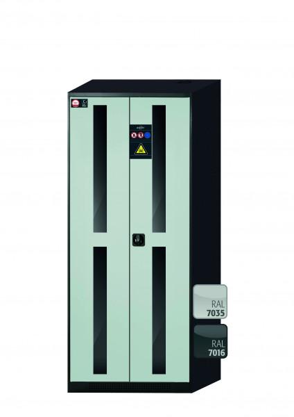 Chemikalienschrank CS-CLASSIC-G Modell CS.195.081.WDFW in lichtgrau RAL 7035 mit 5x Tablarauszug AbZ (Stahlblech/Polypropylen)