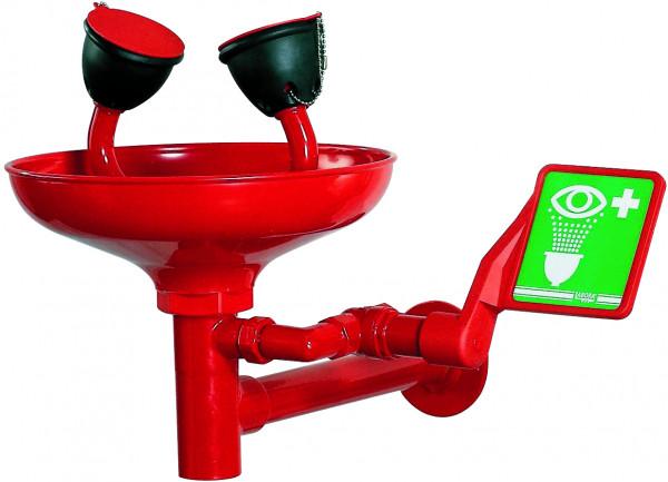 Augendusche mit Becken aus ABS, Wandmontage, Rot, Messing