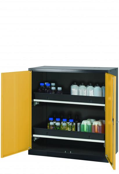 Chemikalienschrank CS-CLASSIC Modell CS.110.105 in sicherheitsgelb RAL 1004 mit 2x Tablarauszug AbZ (Stahlblech/Polypropylen)