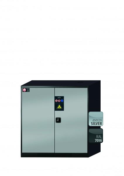 Chemikalienschrank CS-CLASSIC Modell CS.110.105 in asecos Silber mit 2x Tablarauszug AbZ (Stahlblech/Polypropylen)