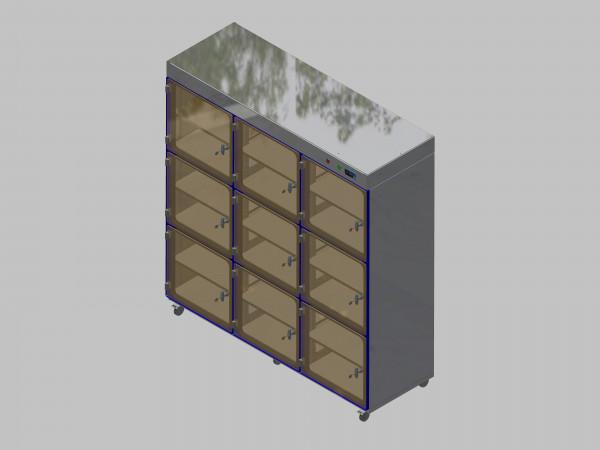 Trockenlagerschrank-ITN-1800-9 mit 2 Tablaren und Regelung der Schrankatmosphäre pro Schrank und Sockelausführung mit Rollen