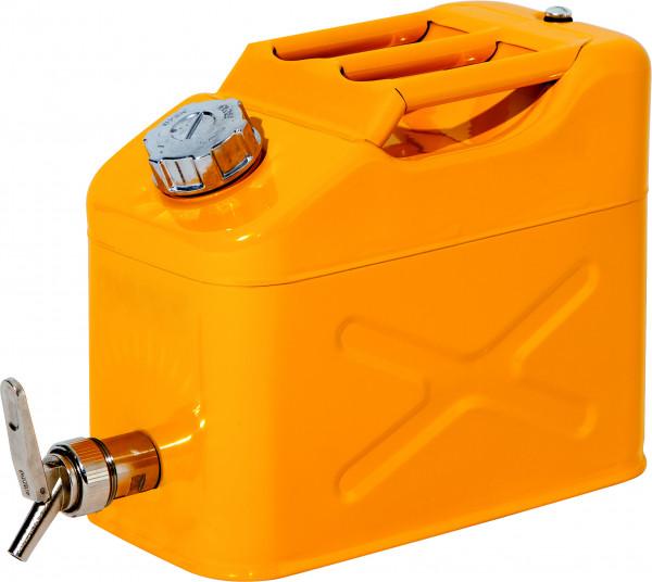 Sicherheitskanister mit Abfüllhahn Stahl lackiert 10 L, Stahlblech verzinkt und pulverbeschichtet