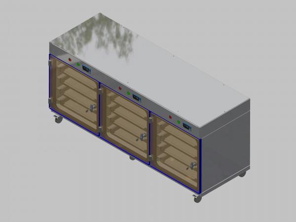 Trockenlagerschrank-ITN-1800-3 mit 4 Schubladen und Regelung der Schrankatmosphäre pro Vertikalkompartiment und Sockelausführung mit Rollen
