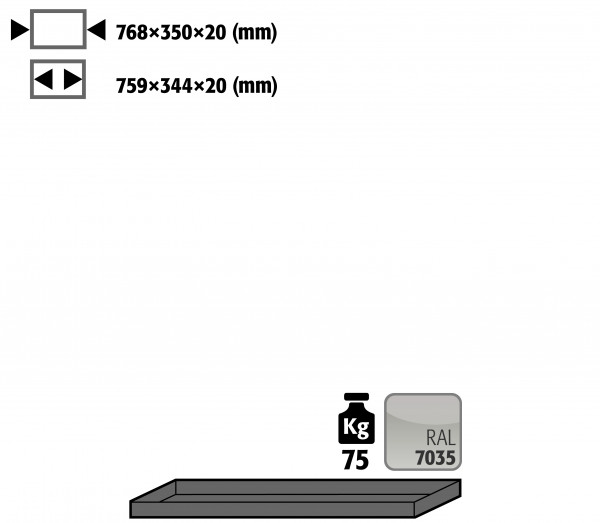 Fachboden Standard für Modell(e): UB90 mit Breite 890/1400 T=500 mm, Stahlblech pulverbeschichtet glatt
