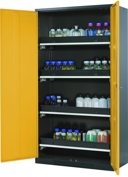 Chemikalienschrank CS-CLASSIC Modell CS.195.105 in sicherheitsgelb RAL 1004 mit 4x Tablarauszug AbZ (Stahlblech/Polypropylen)