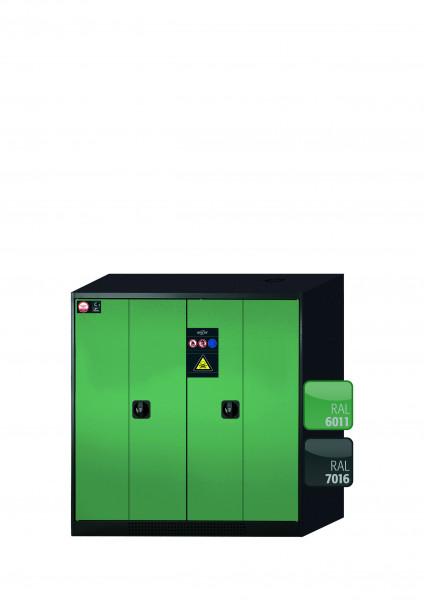 Chemikalienschrank CS-PHOENIX Modell CS.110.105.FD in resedagrün RAL 6011 mit 2x Tablarauszug AbZ (Stahlblech/Polypropylen)