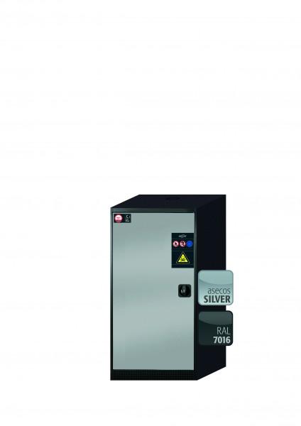 Chemikalienschrank CS-CLASSIC Modell CS.110.054 in asecos Silber mit 2x Tablarauszug AbZ (Stahlblech/Polypropylen)