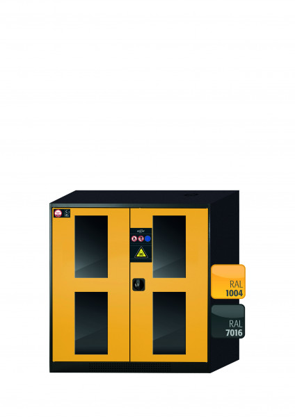 Chemikalienschrank CS-CLASSIC-G Modell CS.110.105.WDFW in sicherheitsgelb RAL 1004 mit 2x Tablarauszug AbZ (Stahlblech/Polypropylen)