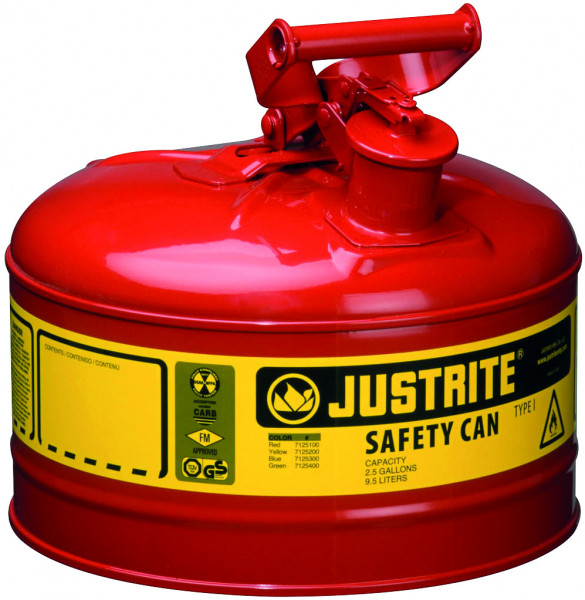 Sicherheitsbehälter Stahlblech pulverbeschichtet Rot, Inhalt: 9,5 Liter, Stahlblech pulverbeschichtet glatt