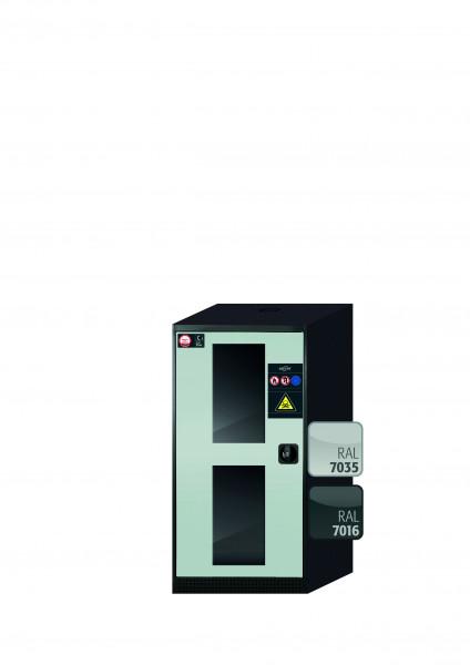 Chemikalienschrank CS-CLASSIC-G Modell CS.110.054.WDFW in lichtgrau RAL 7035 mit 2x Tablarauszug AbZ (Stahlblech/Polypropylen)