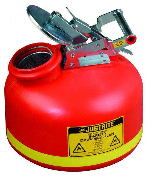 Sicherheits-Sammelbehälter Polyethylen Rot, Inhalt: 7,5 Liter, Polyethylen