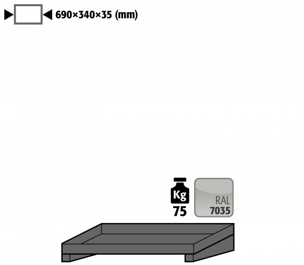 Fachboden Standard für Modell(e): GOD mit Breite 700 mm, Stahlblech pulverbeschichtet glatt