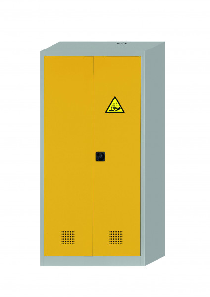 Chemikalienschrank CF-CLASSIC Modell CF.195.095:0004 in sicherheitsgelb RAL 1004 mit 4x Wannenboden Standard (Stahlblech), Stahlblech pulverbeschichtet glatt