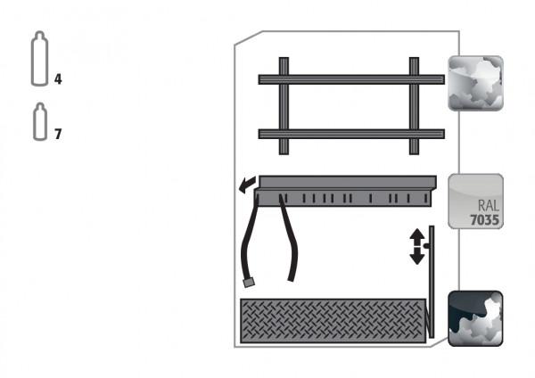 Komfortinneneinrichtung Druckgasflaschen für Modell(e): G90 mit Breite 1200 mm, Stahlblech verzinkt und pulverbeschichtet