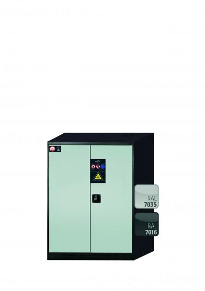 Chemikalienschrank CS-CLASSIC Modell CS.110.081 in lichtgrau RAL 7035 mit 2x Tablarauszug AbZ (Stahlblech/Polypropylen)