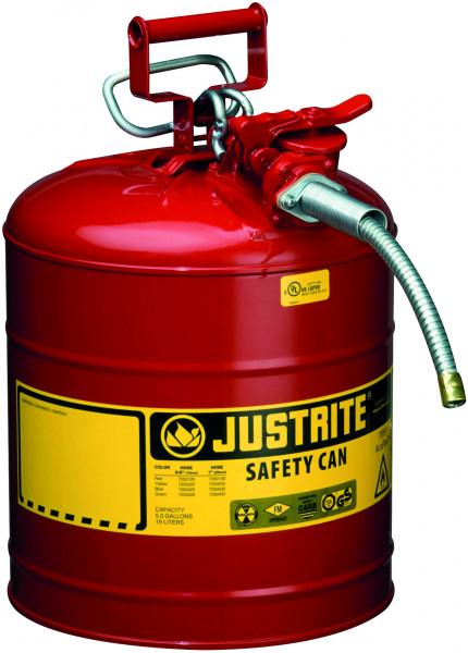 Sicherheitsbehälter Stahl pulverbeschichtet Rot, Inhalt: 19 Liter, Schlauch, Stahlblech pulverbeschichtet glatt