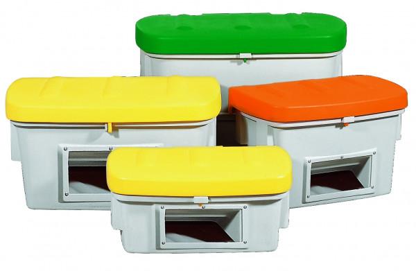 Streugutbehälter PE mit Entnahmeöffnung Gelb, 100 L, Polyethylen