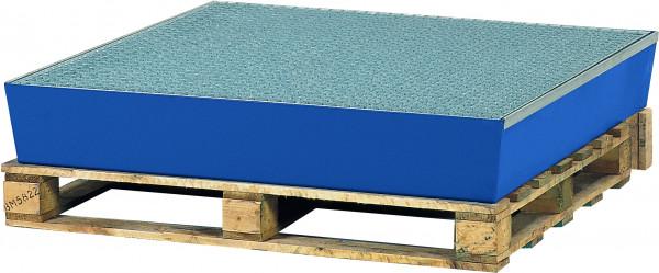 Auffangwanne Stahl mit verzinktem Gitterrost 1210x1240x190, Stahl pulverbeschichtet glatt