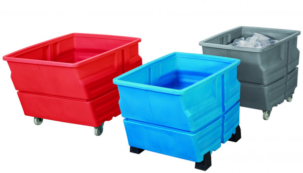 Mehrzweckbehälter PE Blau mit Füssen, 600 L, 1240x845x825, Polyethylen