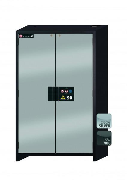 Typ 90 Sicherheitsschrank Q-CLASSIC-90 Modell Q90.195.120 in asecos Silber mit 2x Fachboden Standard (Edelstahl 1.4301)